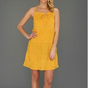 Irving Fine Lucky Brand Boho Peasant Yellow Dress